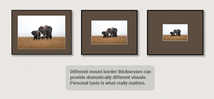 Different picture mount border thicknesses example